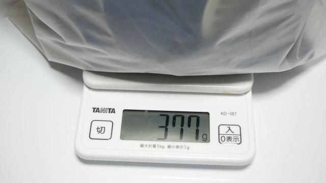 空調服の重さは337g