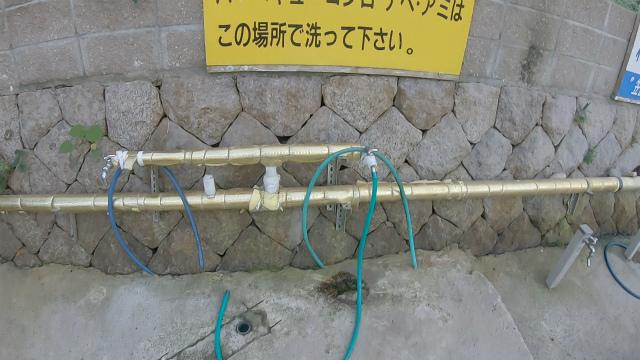 笠置キャンプ場の網洗い場