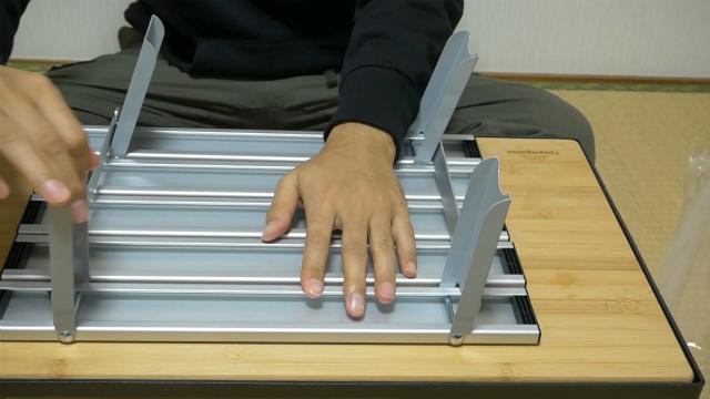 アルミロールテーブルの組み立て