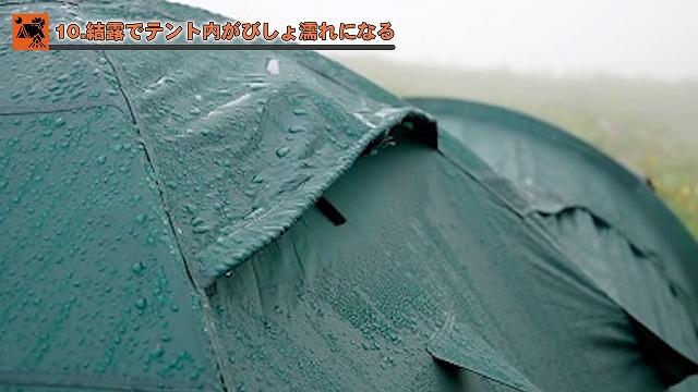 結露でテント内がびしょ濡れになる